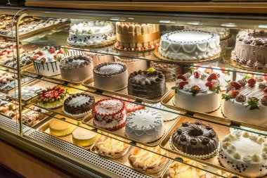 Cakes on display in an Italian Bakery