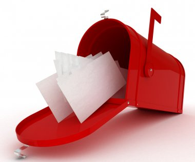 Red mail box with heap of letters. 3D illustration isolated on white