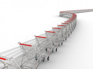 3d image of several shopping trolley
