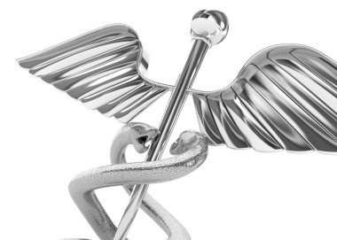 Abstract medical background with silver caduceus medical symbol