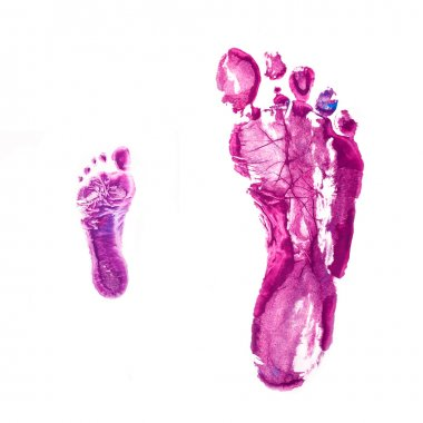 Footprints of father and baby. Isolated on white