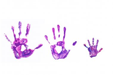 Hand prints of his father, mother and child.