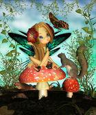 Photo Fairy On Mushroom - Oh pretty butterfly