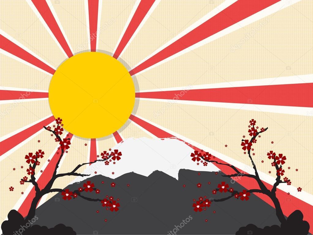 japan oriental sunset with mountain stock vector kittichai