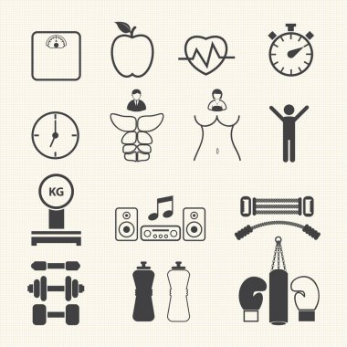 Health and Fitness icons. Vector