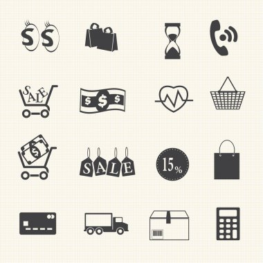 Shopping icons set on texture background. Vector