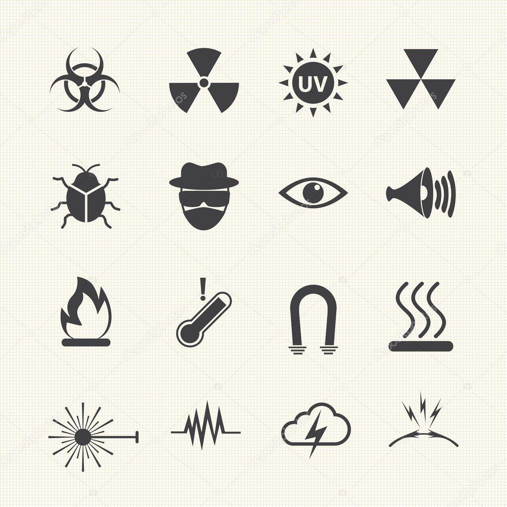 Symbols danger icons set. Vector