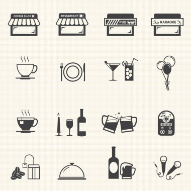 Cafe and Restaurant icons with texture background.