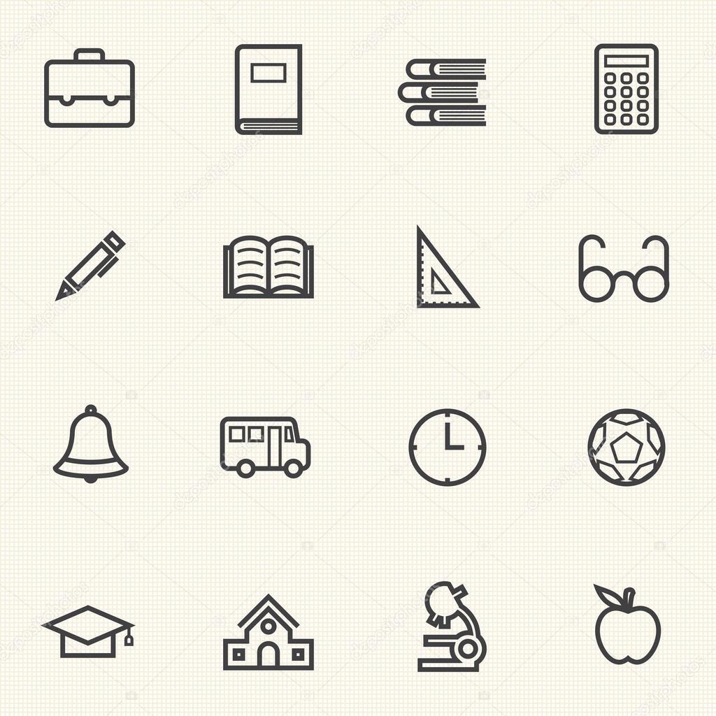 einfache Dokumente und Bibliothek-Icon-Sets. Zeile Symbole ...
