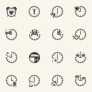 Daily Routine icons set.
