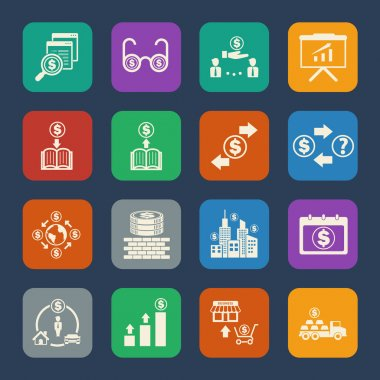 Business and Finance Icons set. Flat design for Website and Mobile applications. Vector