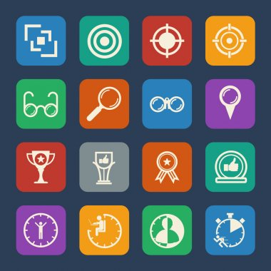 Business icons set Leadership concept. Flat design for Website and Mobile applications. Vector