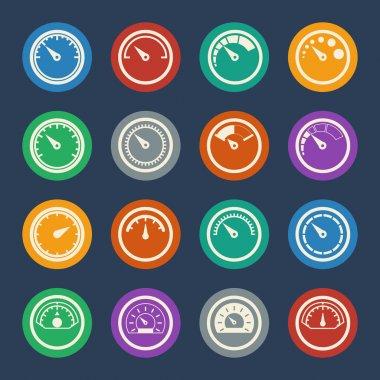 Meter icons set. Vector Flat design. clip art vector