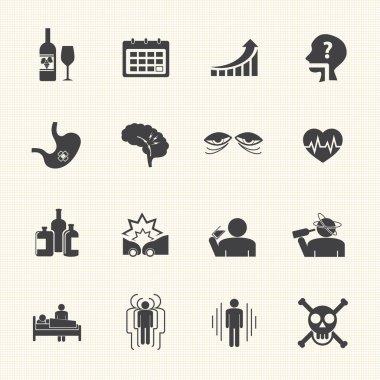 Alcoholism icons set.