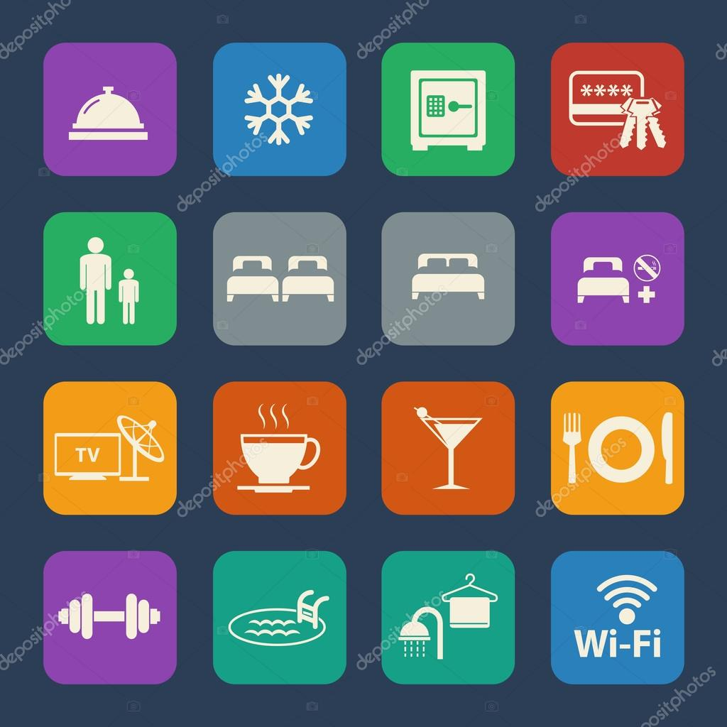 Hotel icons set. Flat design for Website and Mobile applications. Vector