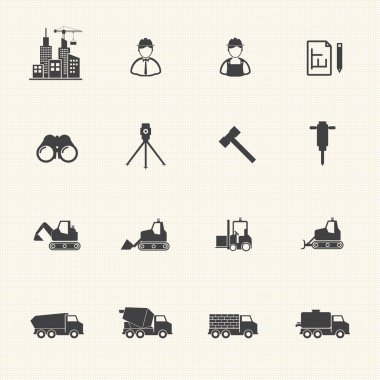 Construction equipment icons set