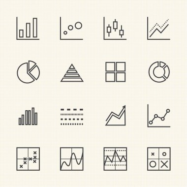 Business Graph icon set. Thin Line icons
