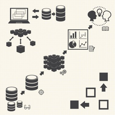 Big Data icons set, Data minning concept