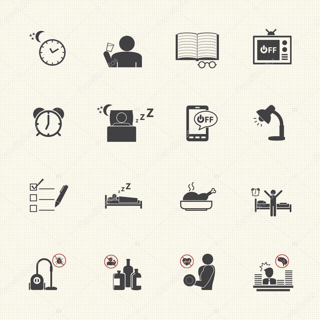 levantarse temprano, diaria rutina icono conjunto — Archivo Imágenes ...