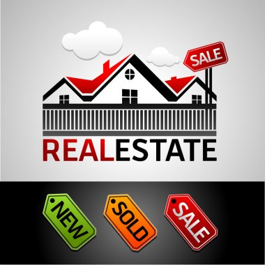 Real estate, new, sale, sold, vector icon