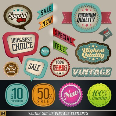 Vintage And Retro Design Elements. Labels in retro and vintage style.