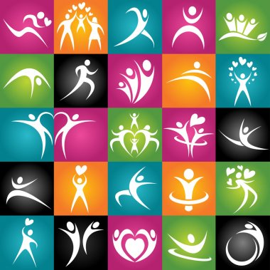 Healthy Young Adults. Active jumping people. Vector Illustration