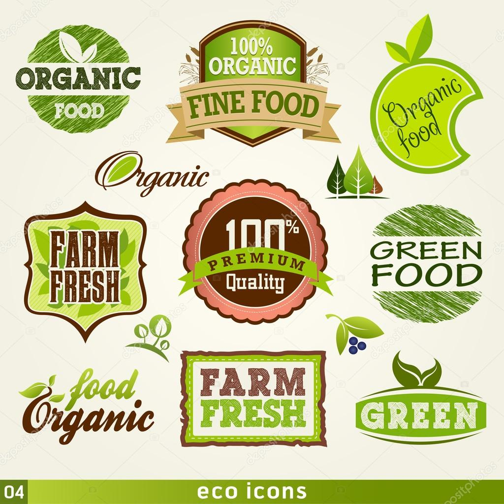 Set of organic and farm fresh food labels and Elements
