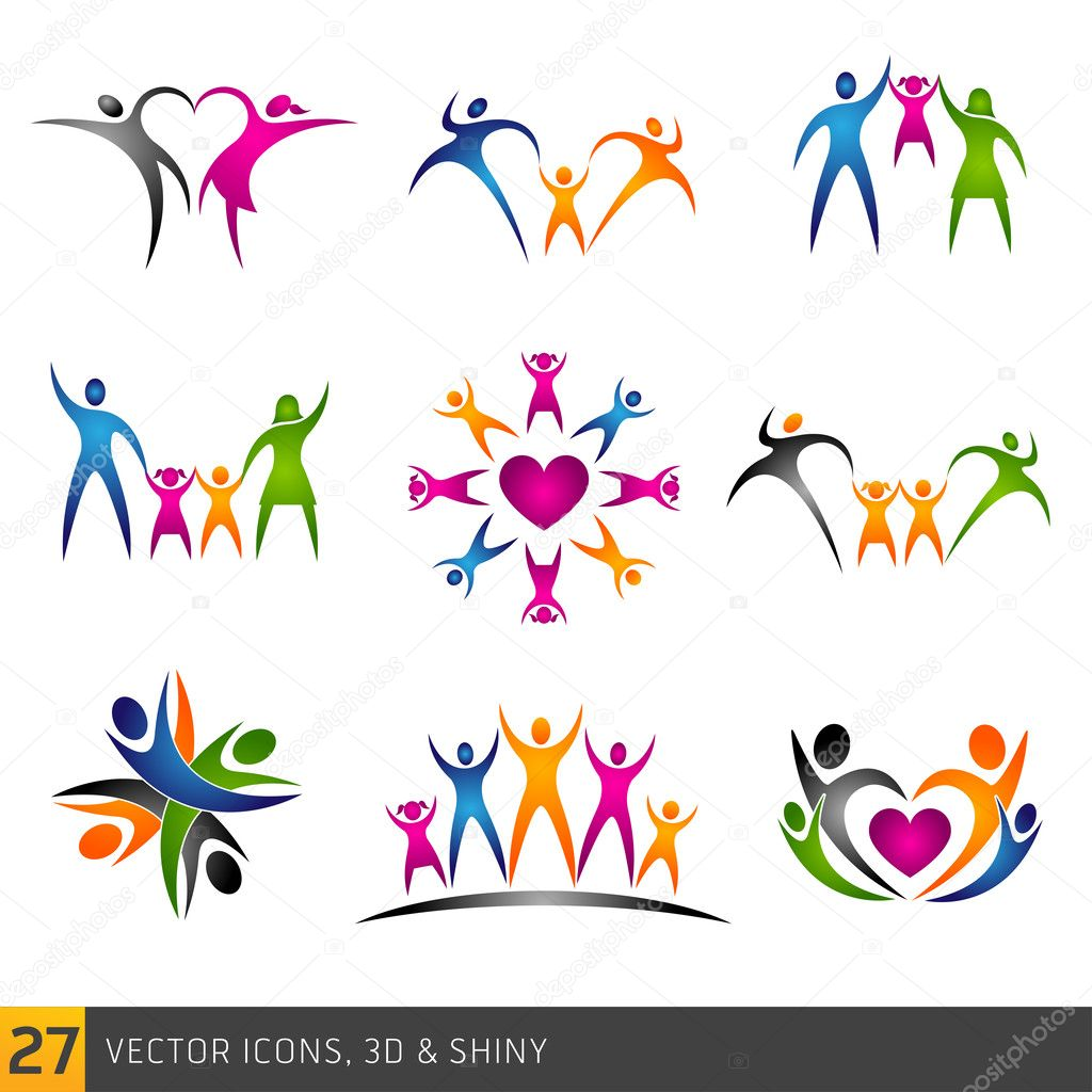 Happy family vector multicolored separate icons collection stock vector
