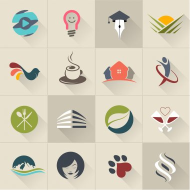 Set of logos, web Icons and business and abstract symbols