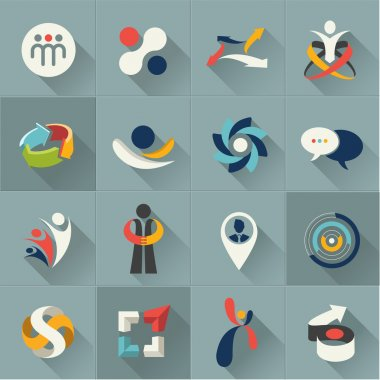 Business social relationship people and communication web Icons