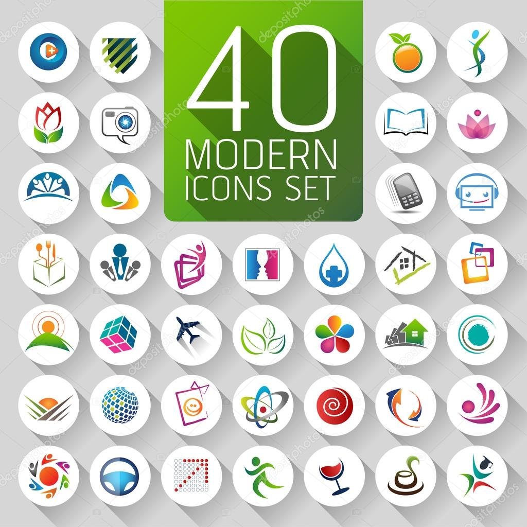 Set of logos, web Icons and symbols