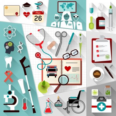 Set of medical flat design concept icons for web and mobile phone services. stock vector