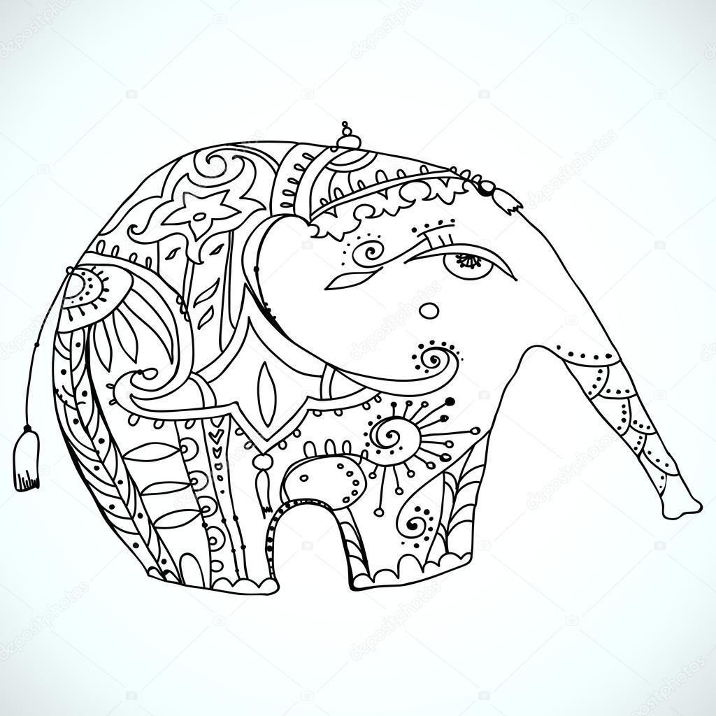 Vektor-orientalische Elefanten-design — Stockvektor © abbilder #26674579