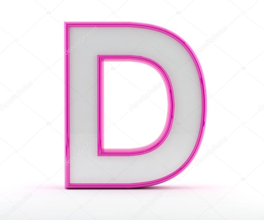 3D carta con contorno de color rosa brillante - letra d — Fotos de ...