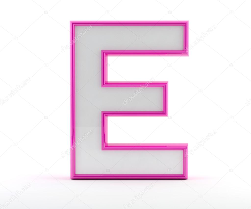 3D letter with glossy pink outline - Letter E — Stock Photo ...