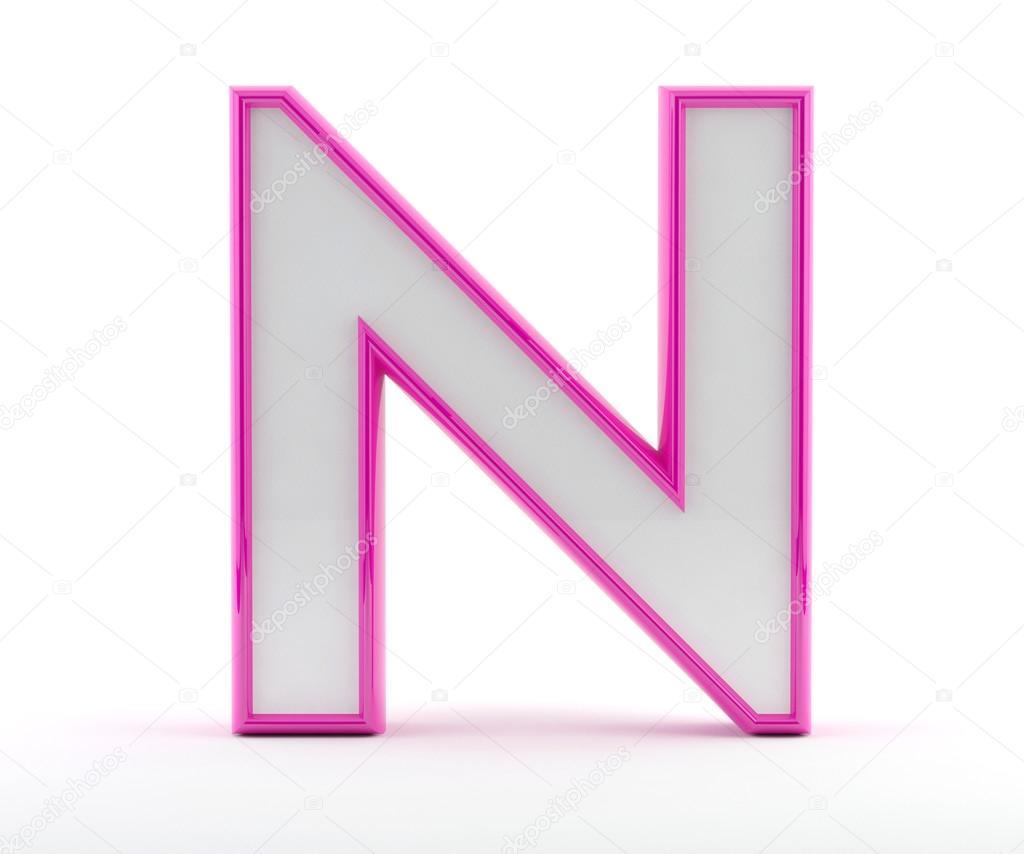 3D carta con contorno de color rosa brillante - letra n — Foto de ...
