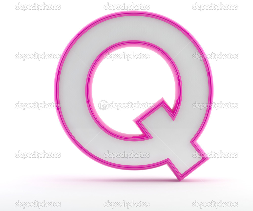 3D letter with glossy pink outline - Letter Q — Stock Photo ...