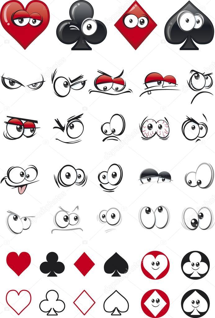 Favori animé visages de carte à jouer — Image vectorielle #20301141 KY64