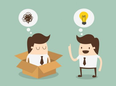 Think out side the box. idea concept. clip art vector