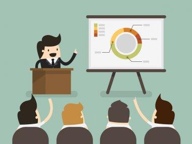 Businessman giving a presentation stock vector