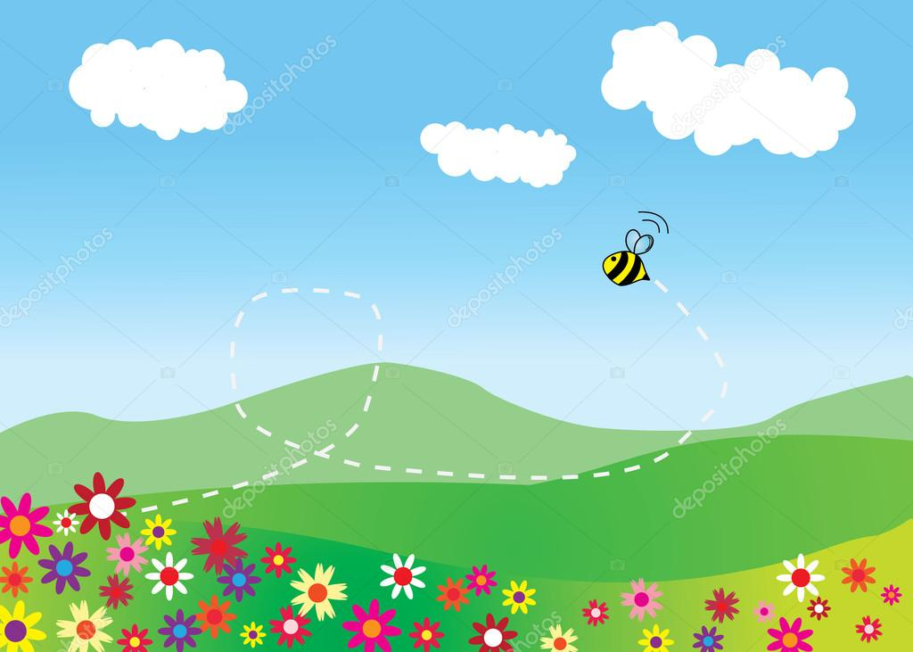 Meadow with flying bee and mountains on background