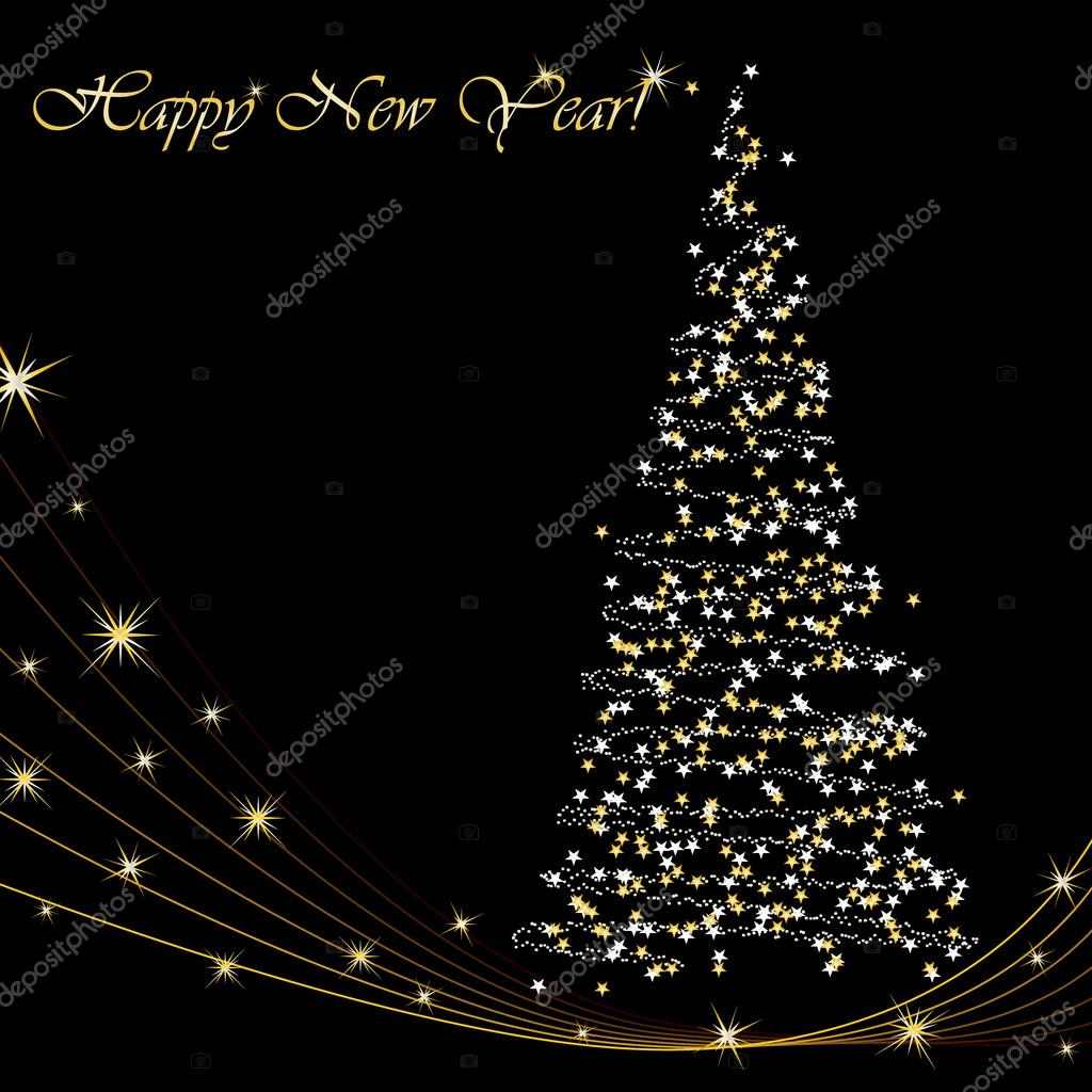 Happy new year 2014 greeting card with christmas tree stock vector happy new year 2014 greeting card with christmas tree stock vector m4hsunfo