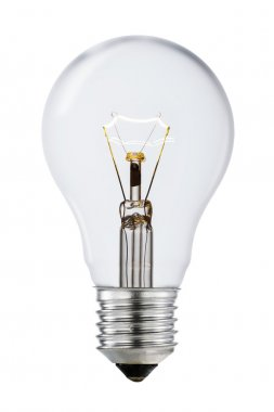 Clear Shining Lightbulb with Clipping Path Isolated On White