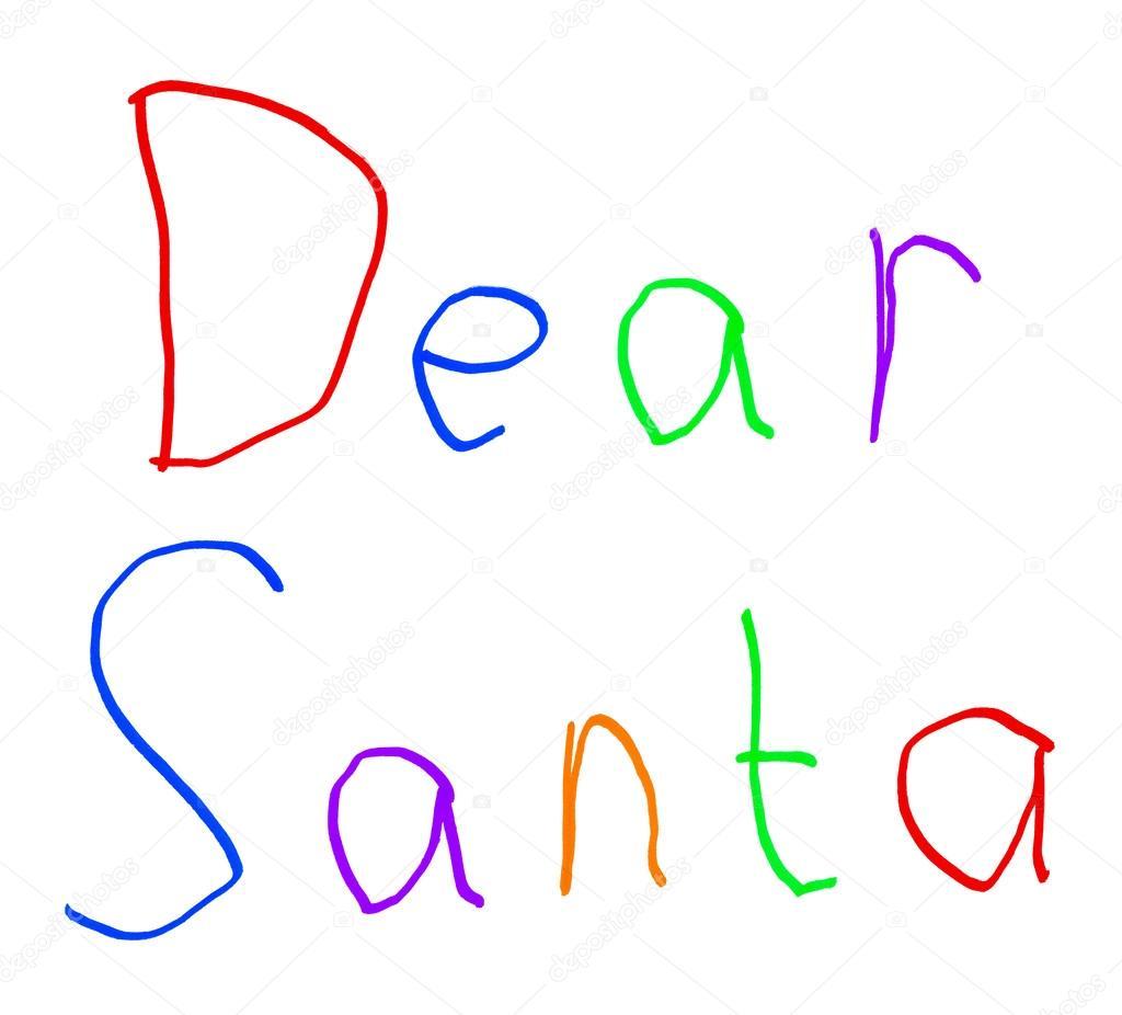 lieber Santa weihnachten Brief Childs Handschrift isoliert auf weiss ...