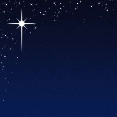 Christmas Star on a Starry Night Sky Background