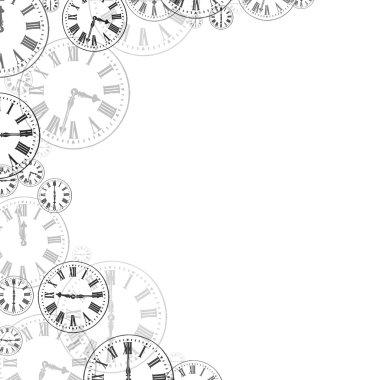 Time Clocks Black & White Background Border