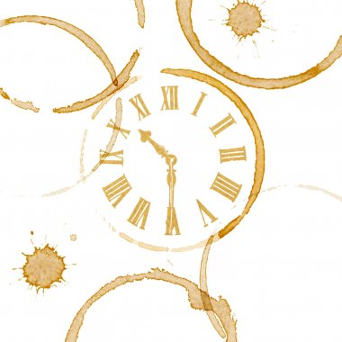 Coffee or tea stain rings and splashes with clock face. Breaktime and business meeting concept. stock vector