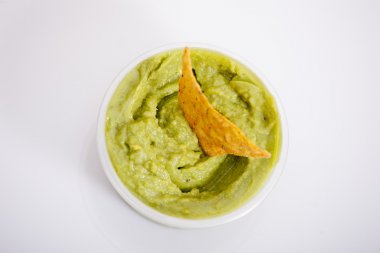 Guacamole with a nacho
