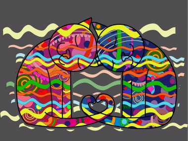 Couple of lovers cats in style pop art clip art vector