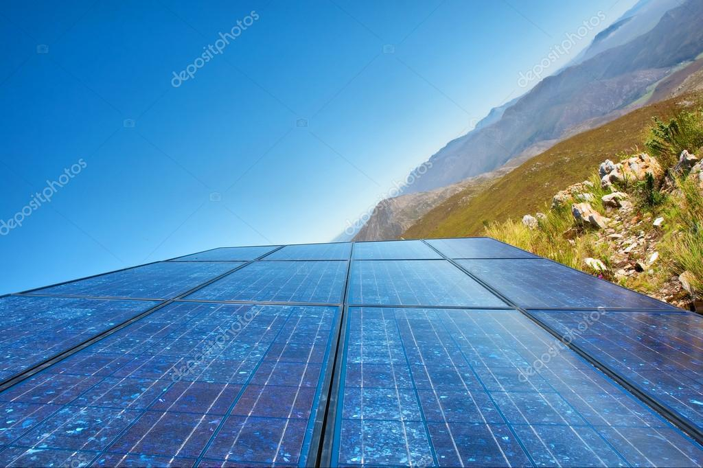 'New sky' - blue solar cells and awesome mountain